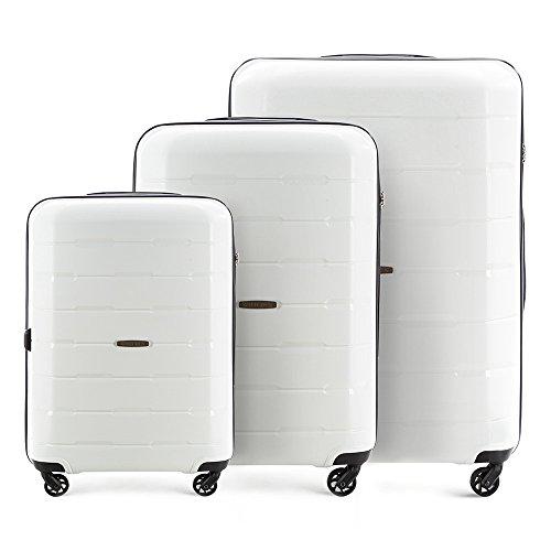 Premium Trolleyset von WITTCHEN I 3 x Polypropylen Hartschalen-Koffer 29 L, 61 L, 101 L I Reisekoffer 4 Rollen 3-Set Weiß