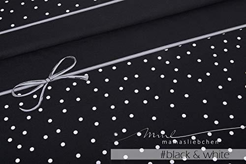 Mamasliebchen Jersey-Stoff Rockabilly #Black & White (1 Panel, ca 0,75m) Punkte Schleifen Panel (White-und Black-panel-kleid)