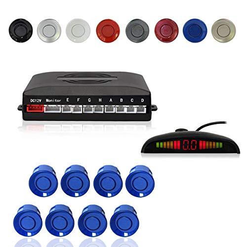 CoCar Auto Rückfahrwarner Einparkhilfe 8 Sensoren Einparkassistent Einparksystem PDC + LED Anzeigen + Akustische Warnung - Blau