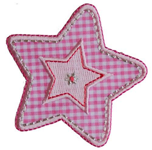 TrickyBoo 2 Aufbügler Karo Pink Stern 7X7cm Frosch 9X8cm Set Aufnäher Flicken Applikationen zum Ausbessern von Kinder Kleidung mit Design...
