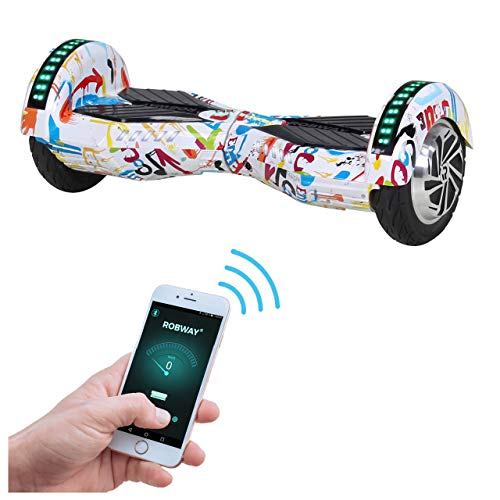 Robway W2 Hoverboard - Das Original - Samsung Marken Akku - Self Balance - Bluetooth - 2 x 350 Watt Motoren - 8 Zoll Räder (Weiß Bunt) -