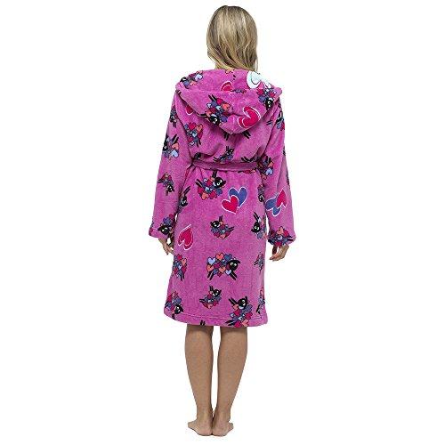 Damen Bademantel mit Kapuze aus 100% Polyester S-XL Dunkelpink