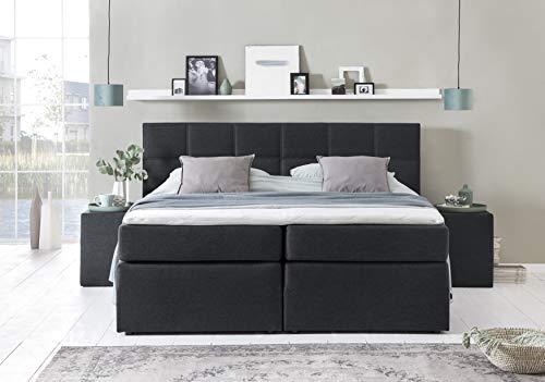 Furniture For Friends Möbelfreude® Boxspringbett Bea Schwarz 180x200 H3 inkl. Visco-Topper, 7-Zonen Taschenfederkern-Matratze