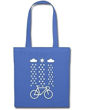 Fahrrad Schnee Regen Sonne Rennrad Stoffbeutel von Spreadshirt®