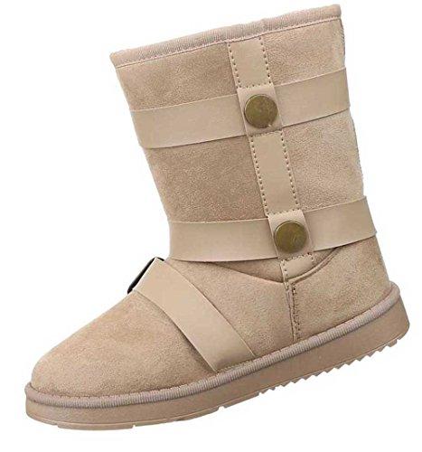 Damen Stiefeletten Schuhe Warm Gefütterte Boots Schwarz Hellbraun