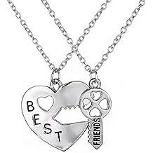 Fengteng Collar BFF de los Mejores Amigos del Corazón Colgante de Regalo y Collar Dominante para