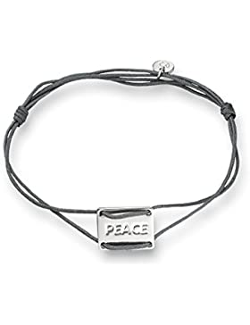Glanzstücke München Damen-Textilarmband grau Peace Sterling Silber 14 - 20 cm - Armbändchen dünn mit Gravur Textilarmband...