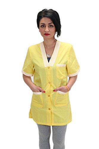 Petersabitidalavoro camice da lavoro donna per maestra asilo supermercati imprese di pulizia domestiche giallo (l)