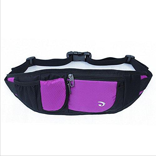 Borsa a tracolla resistente all'acqua del sacchetto di vita dell'animale domestico impermeabile della tasca della chiusura lampo multifunzionale della cinghia di corsa. , deep purple deep purple