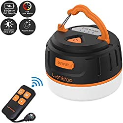 lanktoo Rechargeable Camping Lantern with Remote Control, 6400mAh Power Bank, 5 Light Modes Water-resistant Step-less Dimming Small Tent Light with Magnetic Base for Hiking Fishing Emergencies