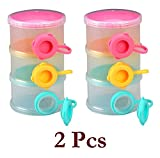 #6: 2 Pcs Lifestyle-You Three - Layered Transparent Color Plastic Baby Milk Food Powder Storage Case. Nice Gift for Newborn & Infants.