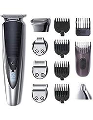 HATTEKER Herren Bartschneider Pro Haarschneider Haarschneidemaschine Bart Trimmer Haartrimmer Nasenhaartrimmer Bodygroomer Wasserdichter USB Wiederaufladbar 5 In 1