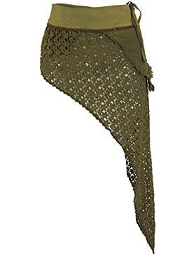 GURU-SHOP Psytrance Goa Minifalda Pixi, Falda Wrap, Verde, Algodón, Tamaño:One Size, Fajas y Adulador de la Cadera