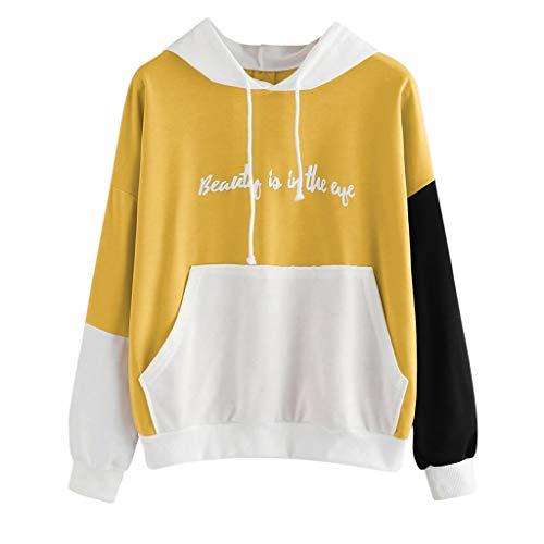 TOPKEAL Damen Jacke Mantel Herbst Winter Sweatshirt Steppjacke Kapuzenjacke Damen Brief Langarm Hoodie Sweater Top Hoodie Pullover Outwear Coats Tops Mode 2019 (Gelb, S)
