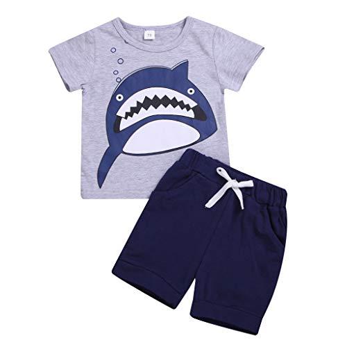 bobo4818 Jungen Kurze Pyjamas Sets Kids Digger Pjs für Jungen Kurzarm Nachtwäsche Nachtwäsche Sommer 2 Stück Outfits Alter 1-7 Jahre (6-12 Months, Gray-5) - 12mo Einem Stück