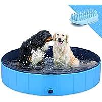 """GoStock Piscina para Perros Plegable Mascota Piscina portátil Bañera para niños Gran Mascota Perro Gato PVC Antideslizante para Interiores/Exteriores (Cepillo de baño Adicional para Mascotas) 48""""x12"""""""