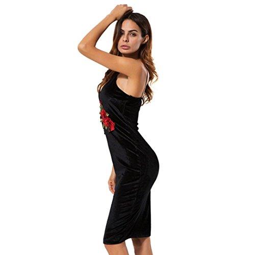 Bekleidung Longra Damen samt Kleid V Neck ärmelloses bestickt Blumen Party Abendkleid Black