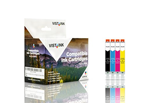 Vista Ink Compatible Ink Cartridge for Canon CLI-551XL BK, Cyan, Magenta & Yellow 4/Pack