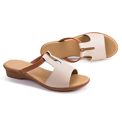 PENGFEI sandali delle donne Pantofole da spiaggia estate Pattini antiscivolo Sandali femminili Pantofole da surf Confortevole e traspirante ( Colore : Blu , dimensioni : EU36/UK4/L:230mm ) Beige