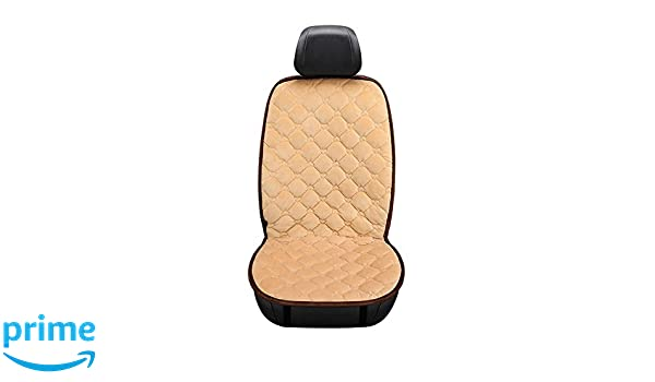 KKmoon 1 PCS 12V Car Front Seat Heating Cover Pad Cushion Beige with Intelligent Temperature Controller Winter Heater Velvet