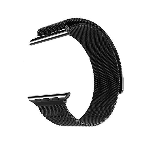 Sulla Milanese Uhrenband Kompatibel mit Apple Watch Series 1, 2, 3, 4 schwarz 42mm (44mm)