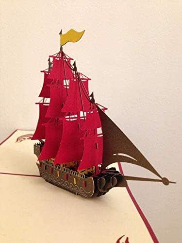 BC Worldwide Ltd Carta pop-up 3D fatta a mano, corazzata spagnola Armada Galleon, barche a vela, carta di buon compleanno, carta festa del papà, carta anniversario