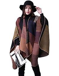 heekpek Poncho de Punto Mujer Cuadros Tartán Poncho Reversible de Otoño Multicolor Capa Mujer Elegante para Invierno