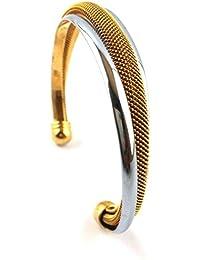 Spangel Fashion Gold Silver Brass Kada Bangle For Men