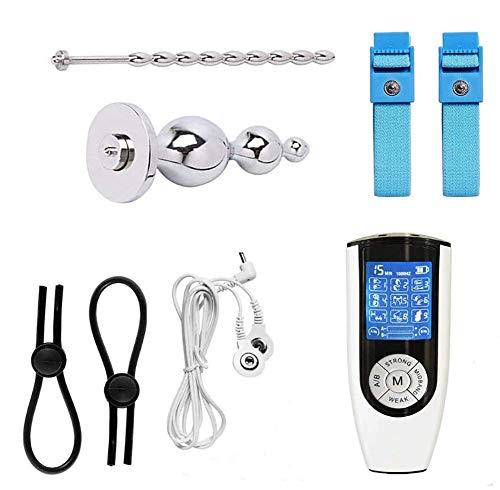 ZHENAO Estim Sex Set, 9 Modi Elektro Shock Analplug/Analdildo & Penisring/Hoden Ring & Harnröhren Dilatoren zur Elektrostimulation, Reizstromgerät SM Sexspielzeug für Männer, USB Aufladung