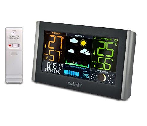 La Crosse Technology WS6836 Stazione meteo, grande schermo, LCD colorato, colore: Nero
