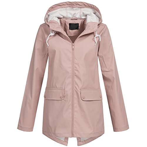 Brave Soul Damen Regenjacke Übergang Parka Friesennerz Regen Mantel Jacke Frühling Sommer AZ44, Größe:S;Farbe:Rosa