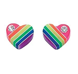 Elements, Silver Multi Colour Heart Studs