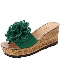 Sandalias 2018, ❤ Ba Zha HEI Casual Zapatillas de Flores con Cuñas de Mujer