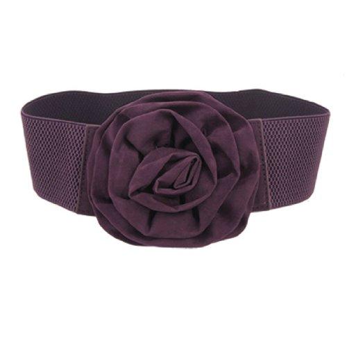 Gleader Cinturon Elastico Hebilla de Diseno de Flor para Mujeres, Color Purpura
