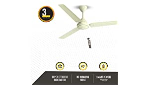 Gorilla Efficio Energy Saving 5 Star Rated 3 Blade Ceiling Fan With Remote Control and BLDC Motor, 1400mm- Ivory