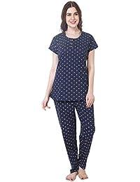 ZEYO Women's Cotton Navy Blue & Pink Feeding Night Suit | Nursing Night Dress Floral Print | Breastfeeding Night wear| Half Sleeve Baby Feeding Top Pyjama Set