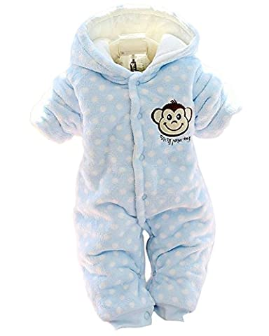 Minetom Herbst Winter Verdickte Overalls Baby Mädchen Jungen Overall Cartoon Coral Fleece Kinderkleidung Warm Einteiler Spieler Affe Blau 59cm