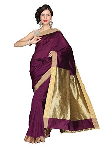 VASTRAM Women Cotton Silk Plain Saree (Purple)