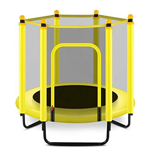 KOJO Trampolin Mit dem Schutznetz, das faltbar und einfach zu tragen ist, kann das Pedal-Bett, das Baby-Innenaußenhüpfbett der Kinder verbiegen (Color : Yellow)