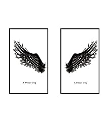 Vaycally Home Kitchen Artwork Wallpaper Sticker, 3D Joint Painting Black Angel Wings Creative Home Decoration Wall Sticker, Creative Office Wall Decals Home Decor