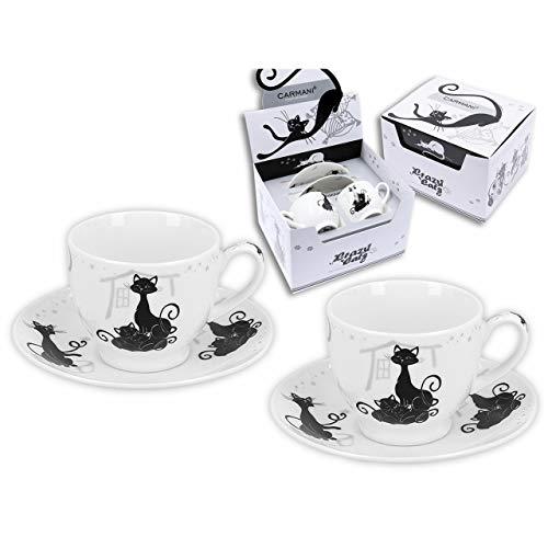 CARMANI - Crazy Cats - Set da 2 tazze e piattino in porcellana bianca, per caffè espresso con gatto nero, 100 ml