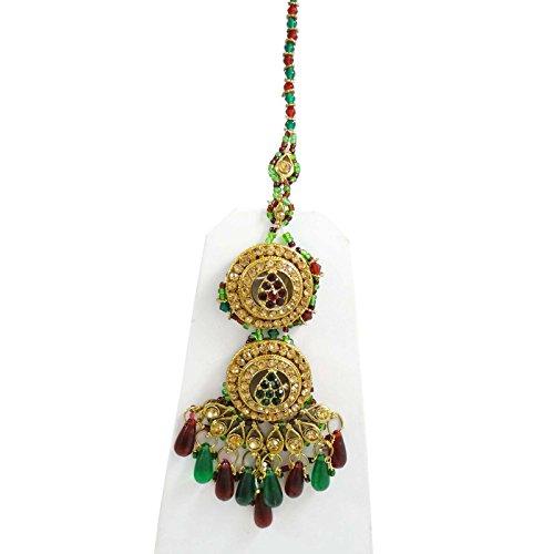 Belle Mariée Mariage Serti De Pierres Cz Bollywood Collier Bijoux Ensemble Cadeau Pour Les Femmes Rouge-1