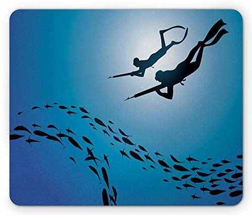 Hunter Silhouette (Scuba Mouse Pad, Fish Hunter Silhouettes Underwater Sport Theme Blue Toned Illustration, Standard Size Rectangle Non-Slip Rubber Mousepad, Blue Black and White)