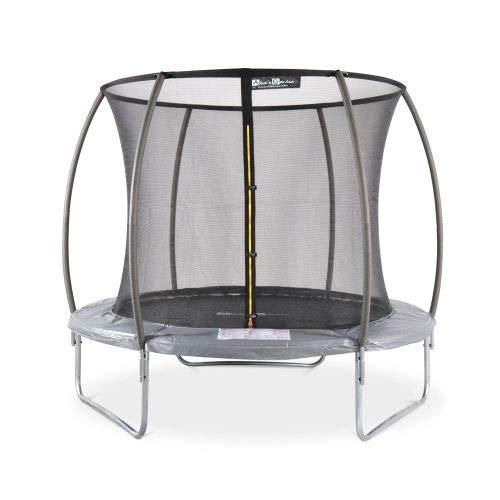 Trampoline Rond Ø 250cm Gris avec Filet de Protection intérieur - Pluton Inner - Nouveau modèle - Trampoline de Jardin 2,50 m 250 cm |Qualité Pro. | Normes EU.