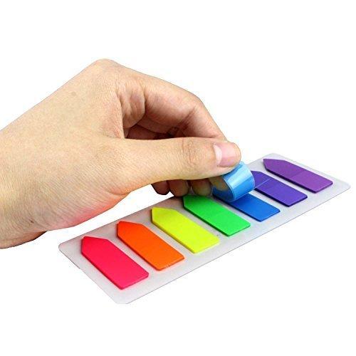Whonline 10 marcador de página de lámpara de neón, fichas de índice coloridas aplican a marcar la págna. 1400 fluorescente pegajosa de la nota