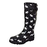 PSW Womens Mstkh Rubber Rain Boots, Black White Puppies, 8 M US