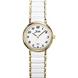 Joalia Women's Analogue Watch with White Dial Analogue Display and Stainless steel plated Bicolour - 631141