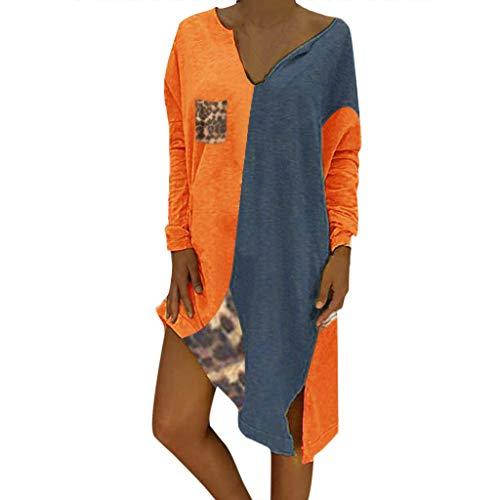 Salsa Männlich Kostüm - TEBAISE Minikleid Damen Patchwork A-Linie Kleider V-Ausschnitt Lange Ärmel Kleid Große Größen Langarm Kleid Farbblock Knielang 2019 Frauen Bohemian Stil Übergröße Strandkleid Tunika Swing Kleid