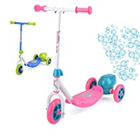 Xootz Kids Bubble Scooter, 3 Wheel Kick Scooter with Bubble Blower, Blue/Pink