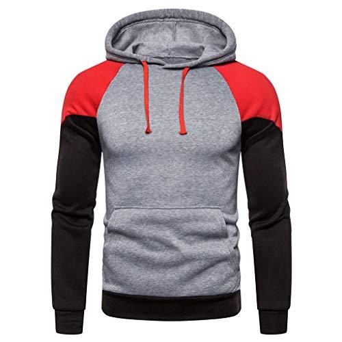 DNOQN Oversized Hoodie Herren Sweatshirt Patchwork Langarm Herbst Winter Kapuzen Outwear Tops Blusen -